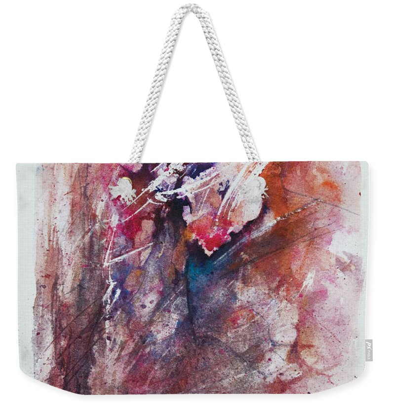Abstract Weekender Tote Bag featuring the painting Inner Conflict by Rachel Christine Nowicki