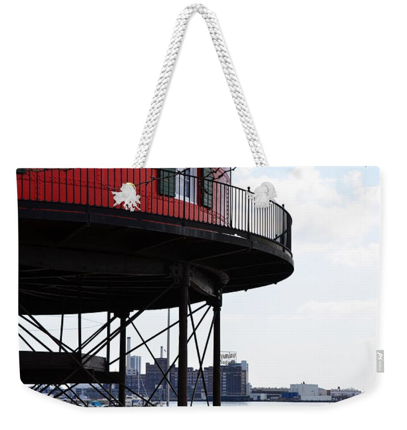 Seven Weekender Tote Bag featuring the photograph Inner Harbor Lighthouse - Baltimore by Bill Cannon