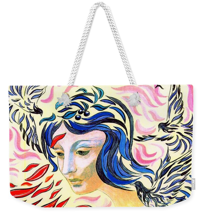 Love Weekender Tote Bag featuring the painting Inner Peace by Jane Small