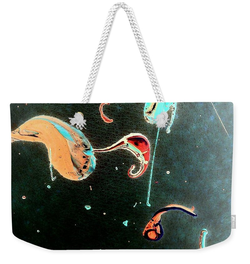 Skin Weekender Tote Bag featuring the painting Inner Space by Jacqueline McReynolds