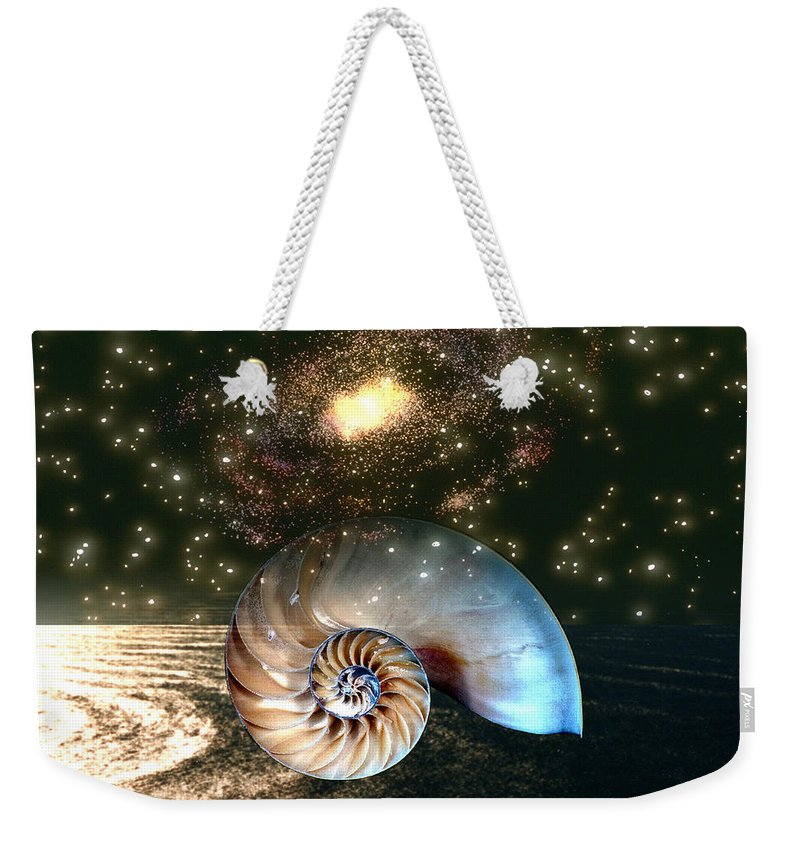Shell Weekender Tote Bag featuring the digital art Inner Space Outer Space by Lisa Yount