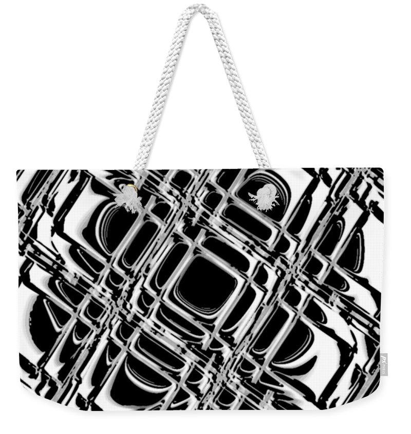 Black And White Weekender Tote Bag featuring the digital art Inner Workings by Pharris Art