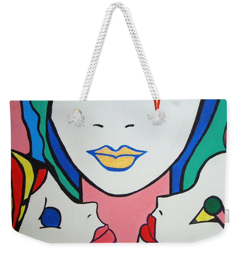 Pop-art Weekender Tote Bag featuring the painting Innocence by Silvana Abel
