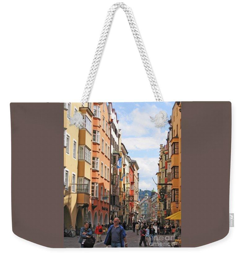 Ann Horn Weekender Tote Bag featuring the photograph Innsbruck Color by Ann Horn