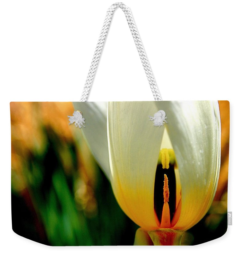 Tulip Weekender Tote Bag featuring the photograph Inside Out by Rona Black