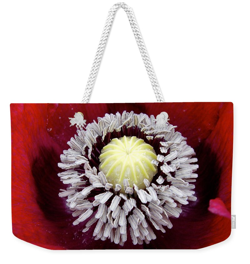 Flower Weekender Tote Bag featuring the photograph Inside Poppy by Noa Mohlabane