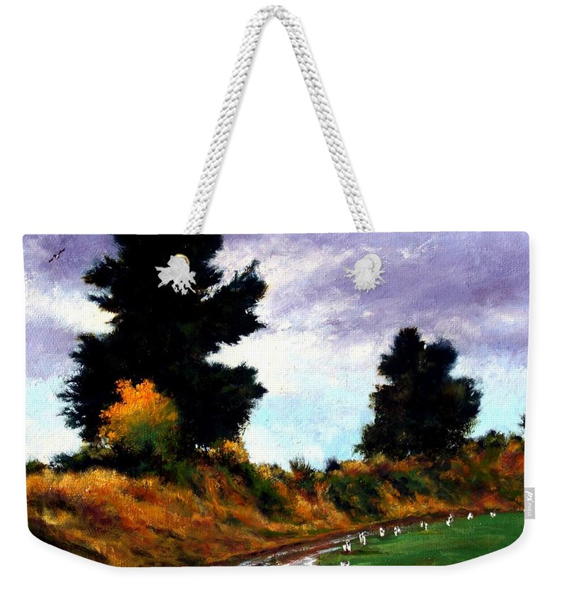 Landscape Weekender Tote Bag featuring the painting Inside The Dike by Jim Gola