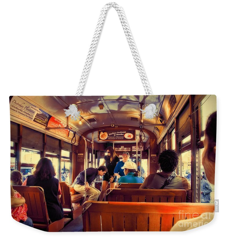Streetcar Weekender Tote Bag featuring the photograph Inside The St. Charles Ave Streetcar New Orleans by Kathleen K Parker