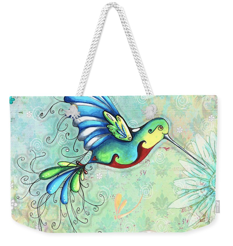 Hummingbird Weekender Tote Bag featuring the painting Inspirational Hummingbird Floral Flower Art Painting Dream Quote By Megan Duncanson by Megan Duncanson