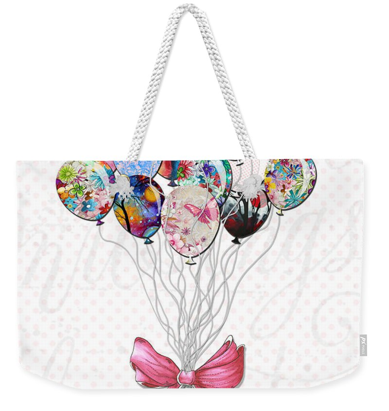 Inspirational Weekender Tote Bag featuring the painting Inspirational Uplifting Floral Balloon Art A Bouquet Of Balloons Just For You By Megan Duncanson by Megan Duncanson