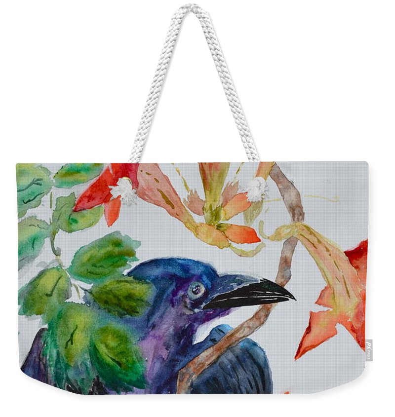 Crow Weekender Tote Bag featuring the painting Intent by Beverley Harper Tinsley