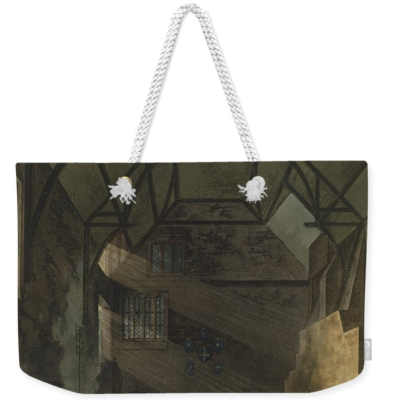 Beam Weekender Tote Bag featuring the drawing Interior Of The Kitchen, Trinity by William Henry Pyne