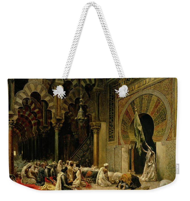 Interior Of The Mosque At Cordoba Weekender Tote Bag featuring the painting Interior Of The Mosque At Cordoba by Edwin Lord Weeks