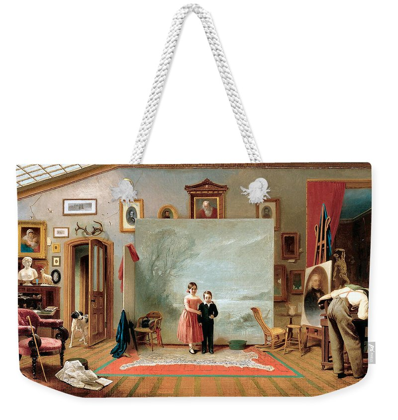 Thomas Le Clear Weekender Tote Bag featuring the digital art Interior With Portraits by Thomas Le Clear