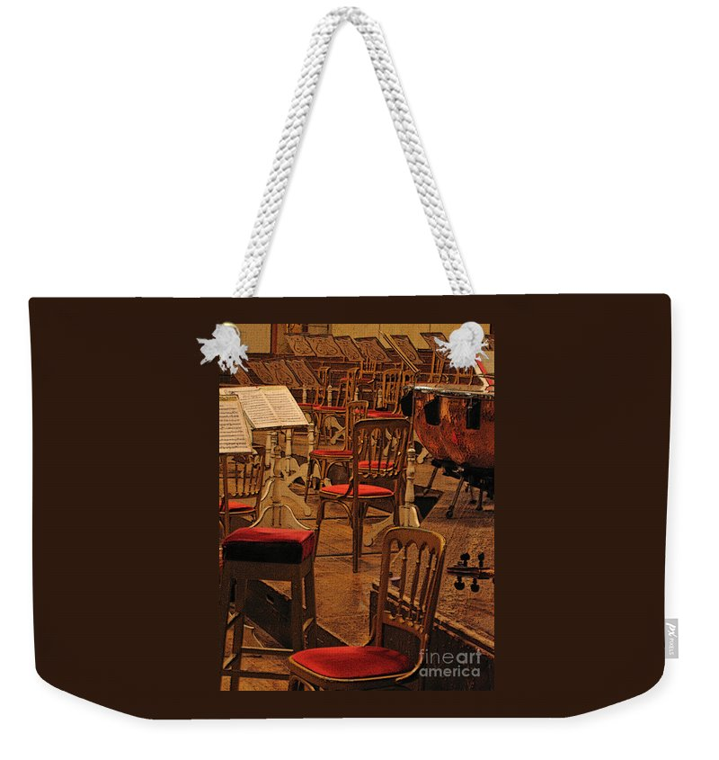 Music Weekender Tote Bag featuring the photograph Intermission by Ann Horn