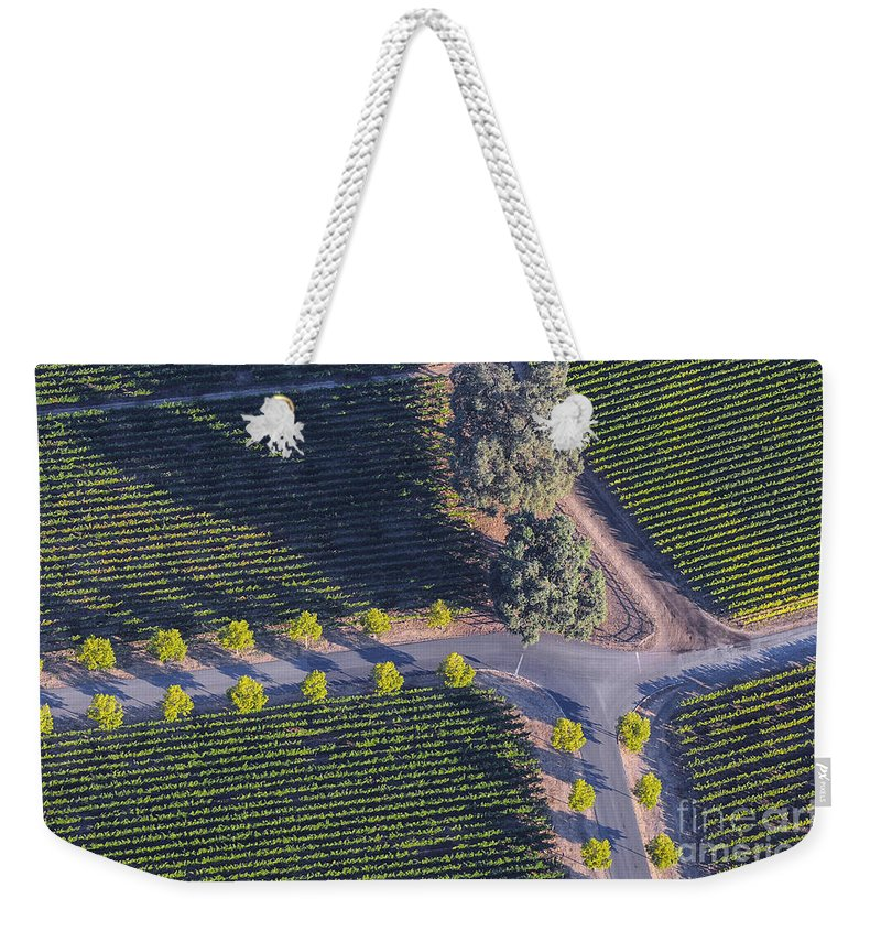 Napa Valley California Winery Wineries Grape Vine Vines Tree Trees Road Roads Street Streets Row Rows Vineyard Vineyards Landscape Landscapes Weekender Tote Bag featuring the photograph Intersection by Bob Phillips