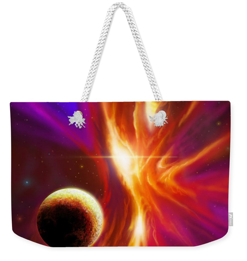 Jameshillgallery.com Weekender Tote Bag featuring the painting Intersteller Supernova by James Christopher Hill