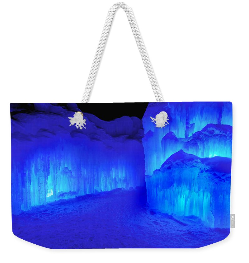 Loon Mountain Weekender Tote Bag featuring the photograph Into The Blue by Greg Fortier