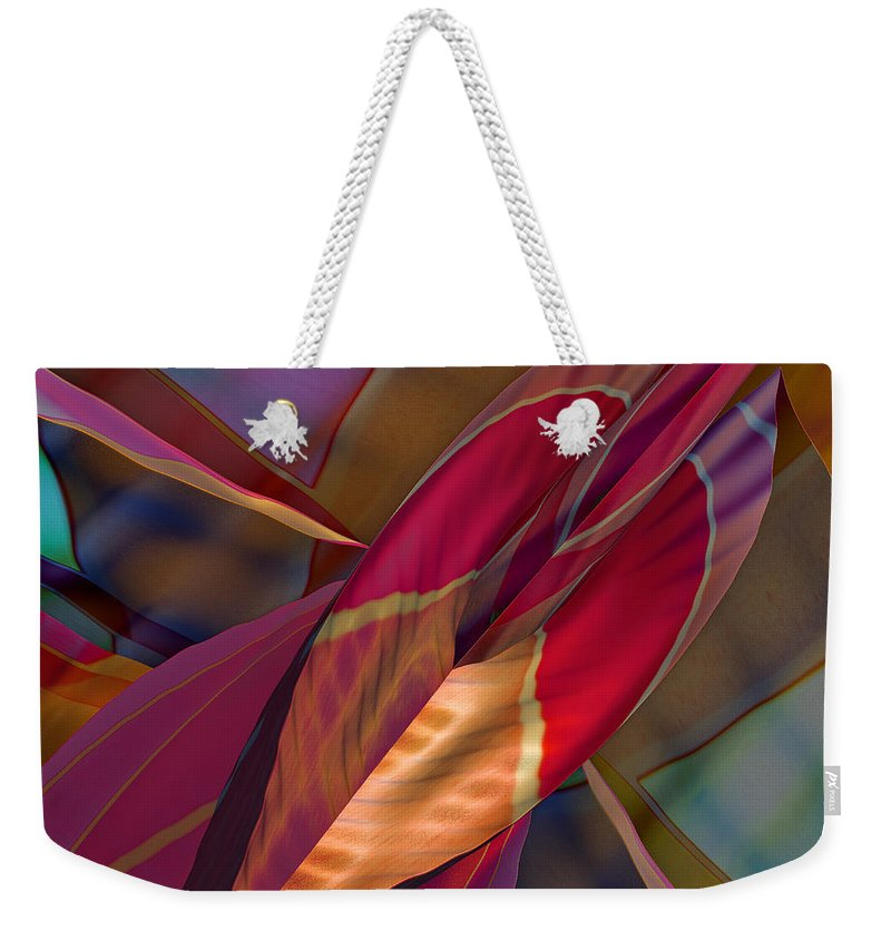 Abstract Weekender Tote Bag featuring the digital art Into The Soul by Deborah Benoit