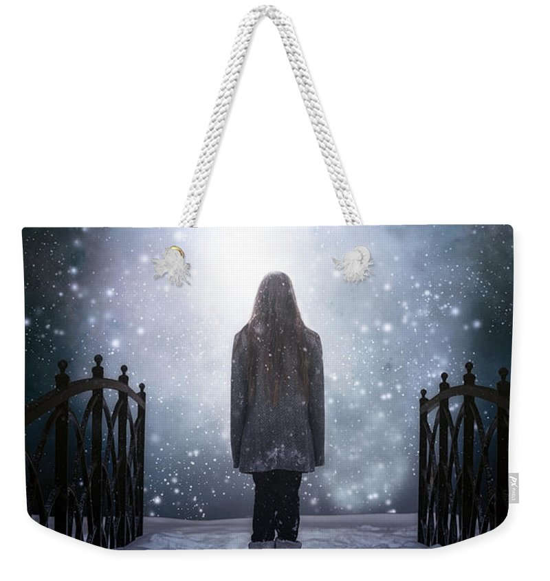 Girl Weekender Tote Bag featuring the photograph Into The Unknown by Joana Kruse