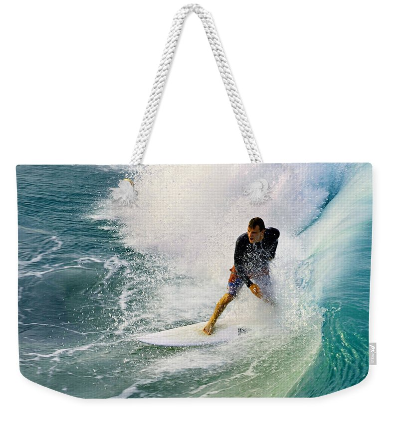 Surfer Weekender Tote Bag featuring the photograph Into The Vortex by Laura Fasulo