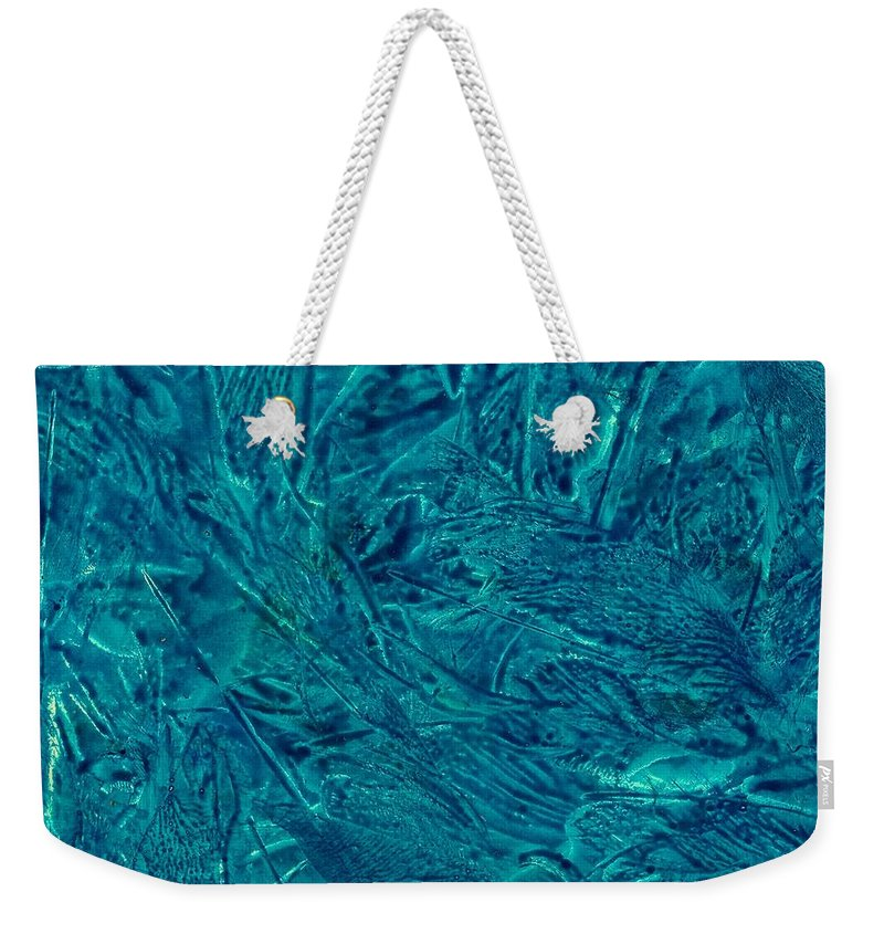Abstract Weekender Tote Bag featuring the painting Intricate Blue by Kendall Kessler