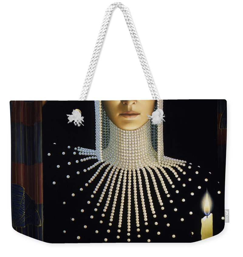 Intrique Weekender Tote Bag featuring the painting Intrigue by Jane Whiting Chrzanoska