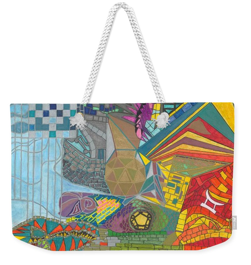 Mosaic Weekender Tote Bag featuring the drawing Introspection by James Michael Olson