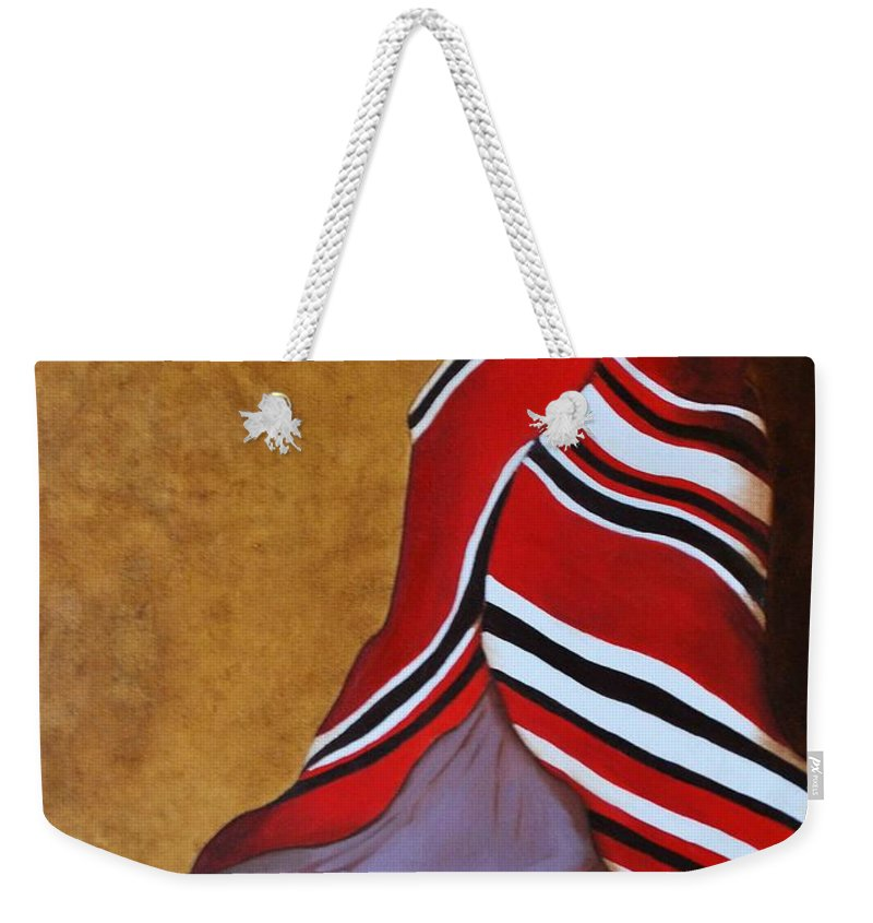 Oil Weekender Tote Bag featuring the painting Introspection by Sonali Kukreja