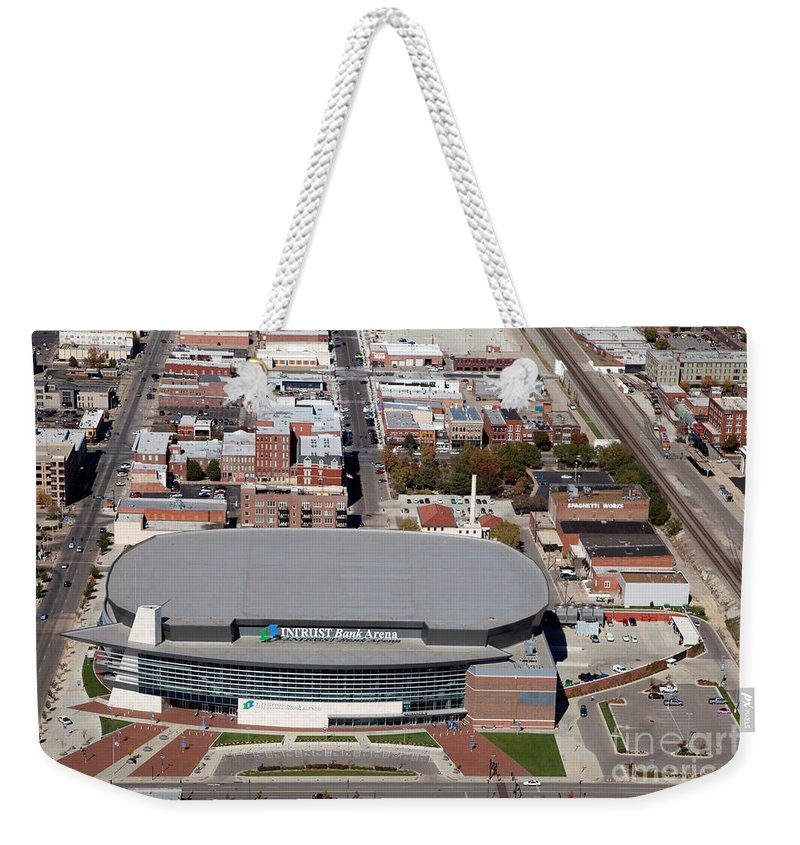 Aerial Weekender Tote Bag featuring the photograph Intrust Bank Arena And Old Town Wichita by Bill Cobb