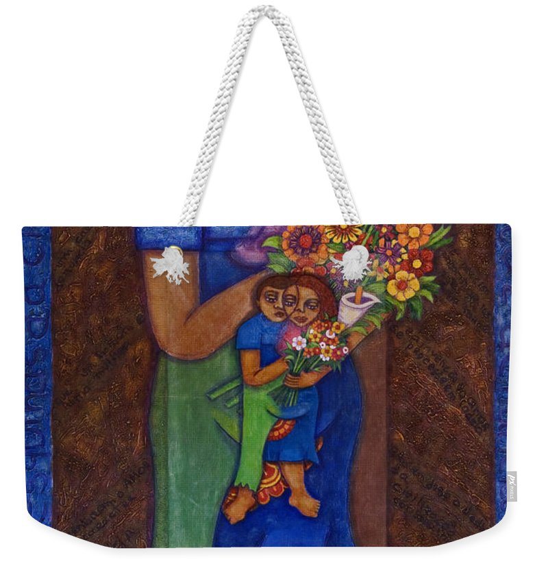 Invention Of Love Weekender Tote Bag featuring the painting Invention Of Love by Madalena Lobao-Tello