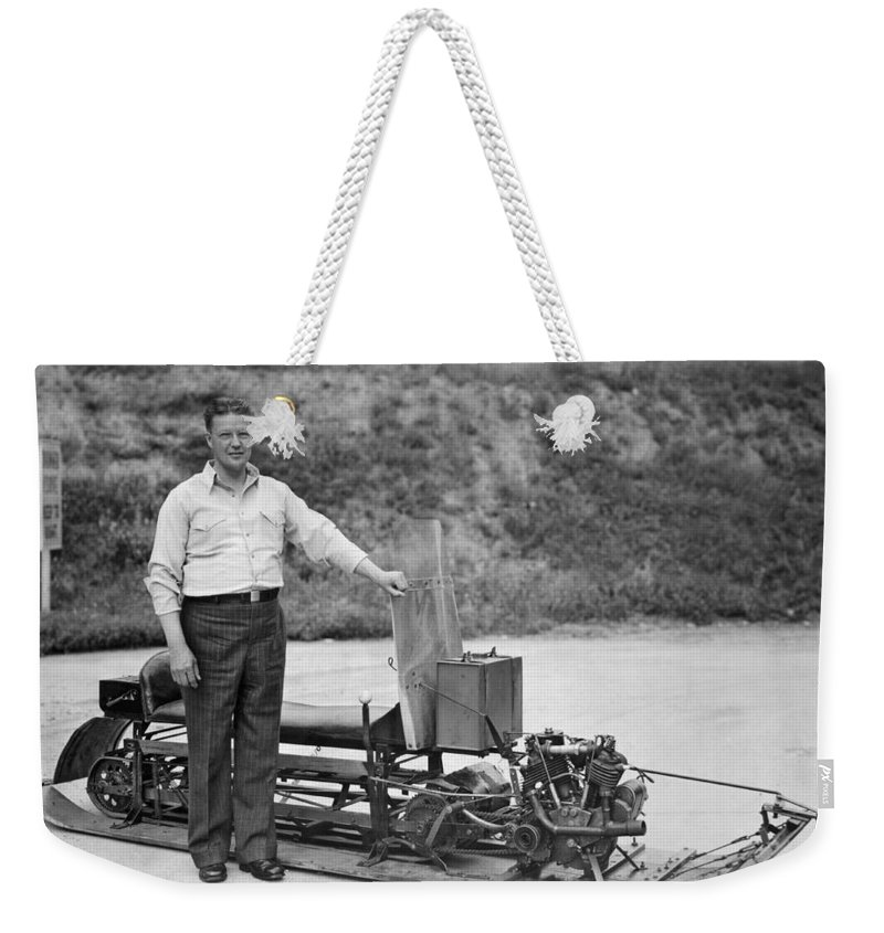 1927 Weekender Tote Bag featuring the photograph Inventor Of First Snowmobile by Underwood Archives