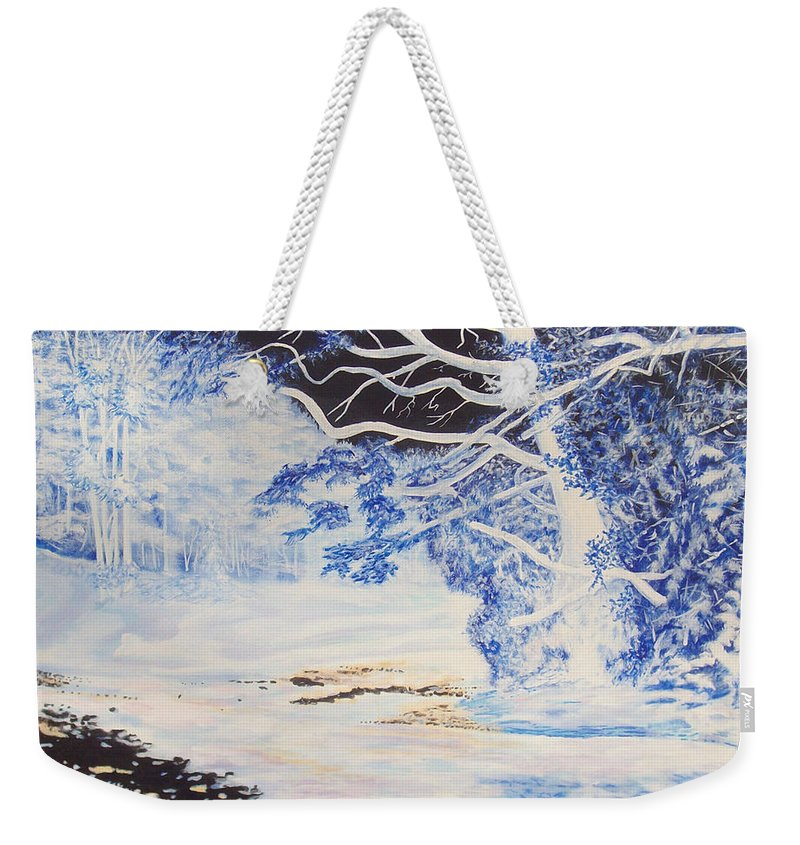Inverted Lights Trawscoed Aberystwyth Weekender Tote Bag featuring the painting Inverted Lights At Trawscoed Aberystwyth Welsh Landscape Abstract Art by Edward McNaught-Davis