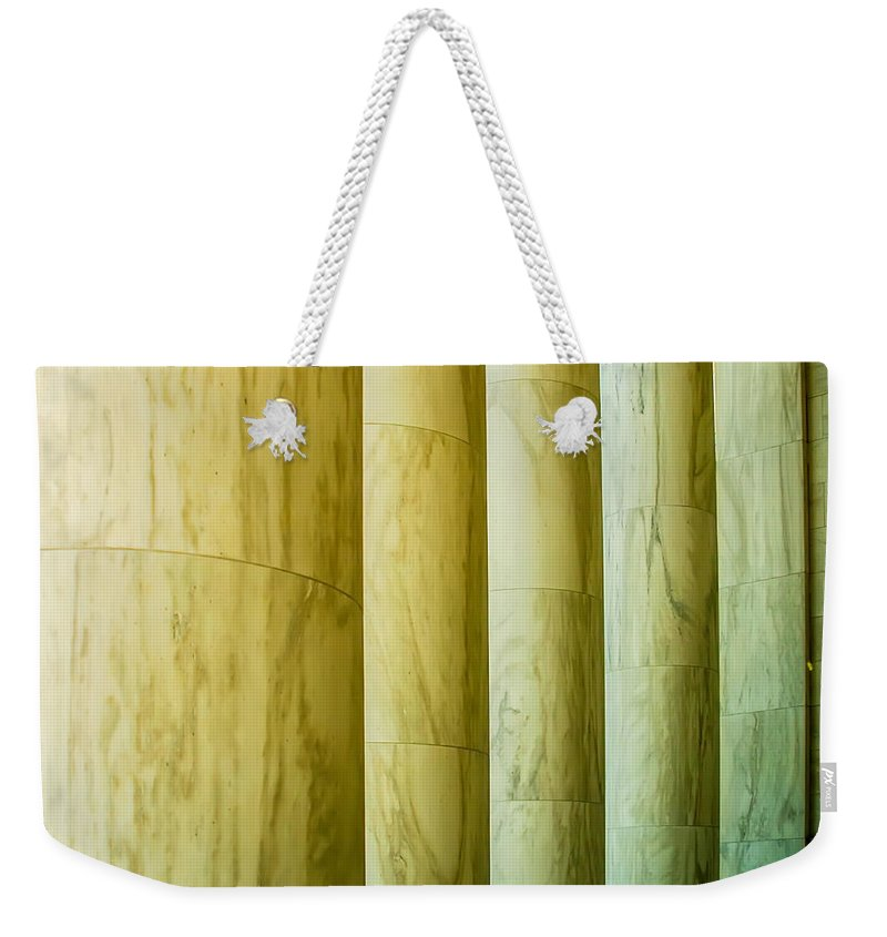 White Weekender Tote Bag featuring the photograph Ionic Architectural Columns Details by Alex Grichenko