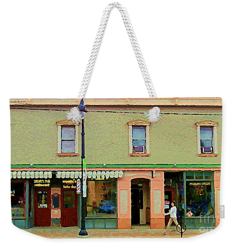 Ottawa Weekender Tote Bag featuring the painting Irenes's Pub And Ernesto's Barber Shop Bank St Shops In The Glebe Paintings Of Ottawa Cspandau by Carole Spandau