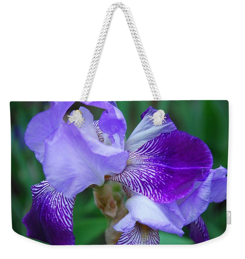 Blue Weekender Tote Bag featuring the photograph Iris 30 by Allen Beatty