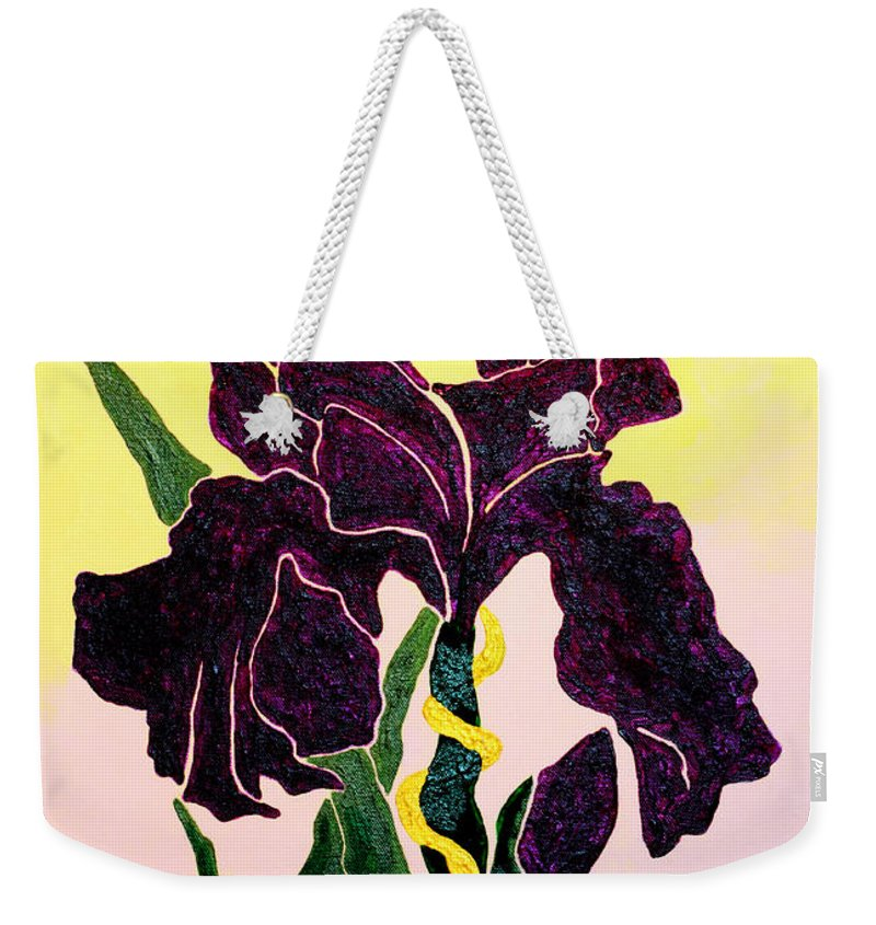 Iris Weekender Tote Bag featuring the painting Iris by Andrew Petras