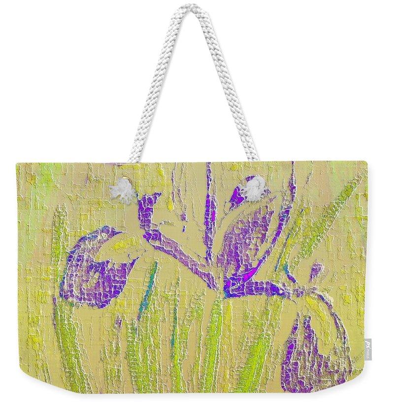 Iris Weekender Tote Bag featuring the digital art Iris by Barbara Moignard