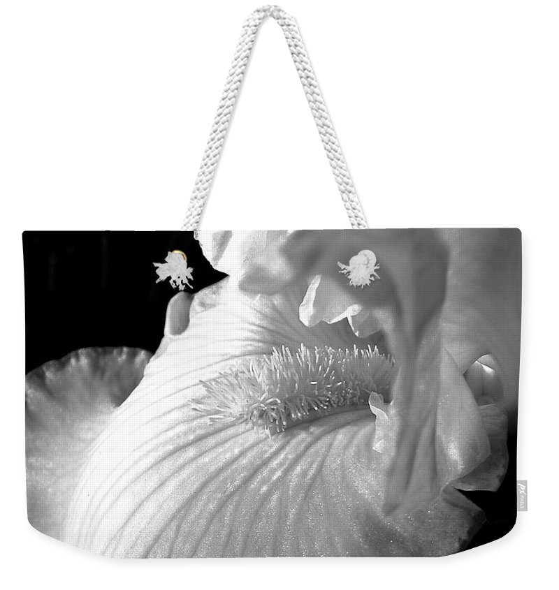 Iris Weekender Tote Bag featuring the photograph Iris Flower In Black And White by Jennie Marie Schell