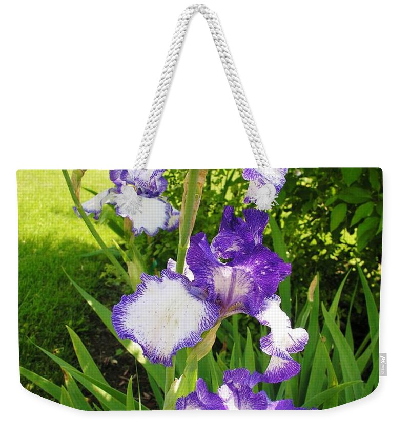 Iris Weekender Tote Bag featuring the photograph Iris Flowers by Sherman Perry
