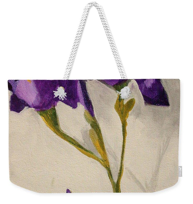 Iris Weekender Tote Bag featuring the painting Iris by Nancy Merkle