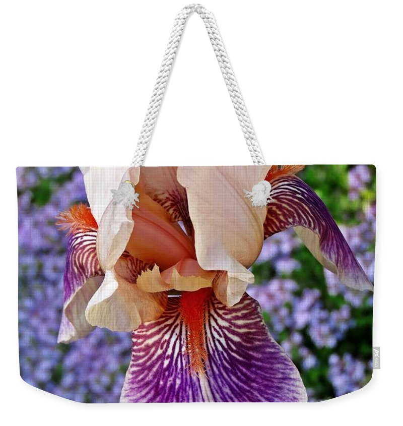 Iris Weekender Tote Bag featuring the photograph Iris Thyme by MTBobbins Photography