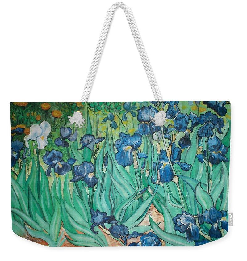 Vincent Van Gogh Weekender Tote Bag featuring the painting Irises by Gary Hogben