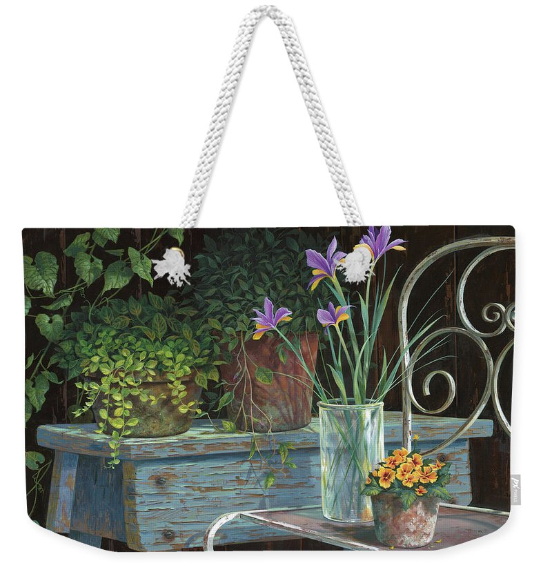 Michael Humphries Weekender Tote Bag featuring the painting Irises by Michael Humphries