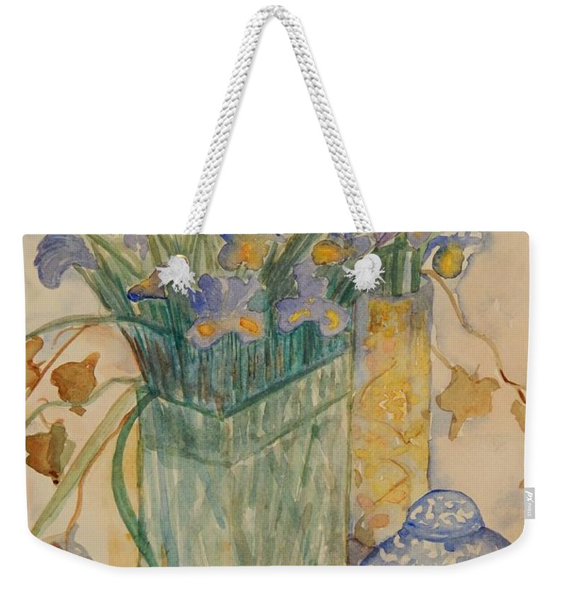 Iris Weekender Tote Bag featuring the painting Irises With Chinese Pot by Caroline Street