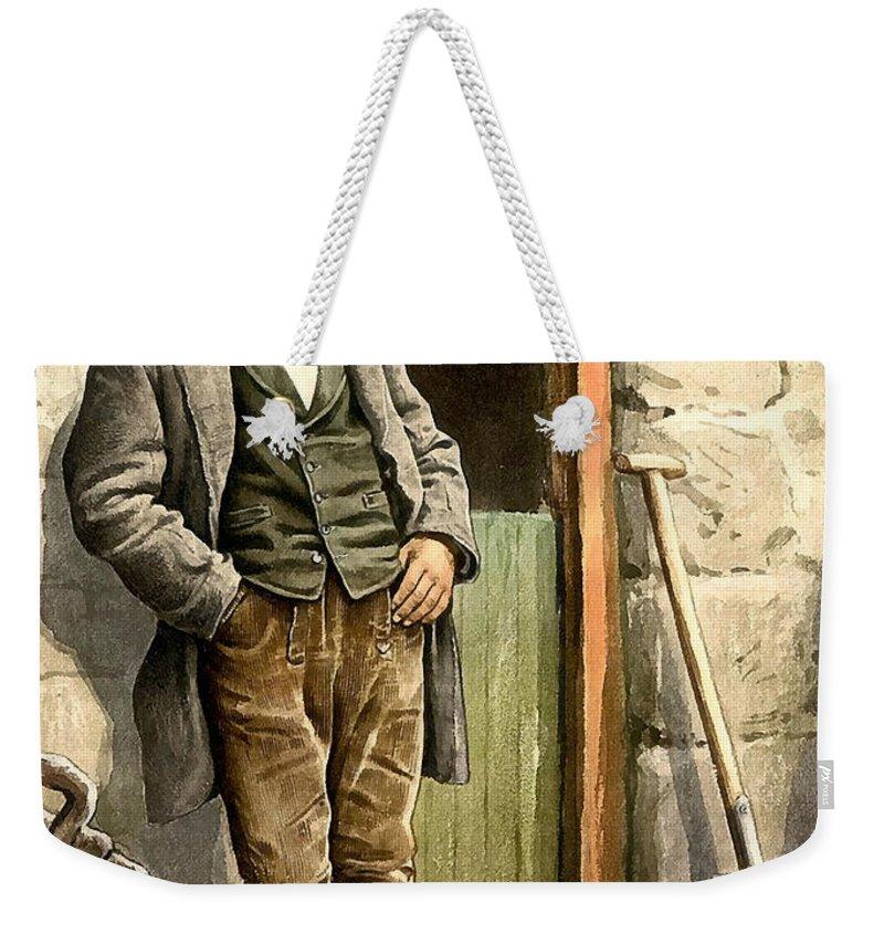 Irish Peasant Farmer Weekender Tote Bag featuring the photograph Irish Peasant Farmer by Vintage Image