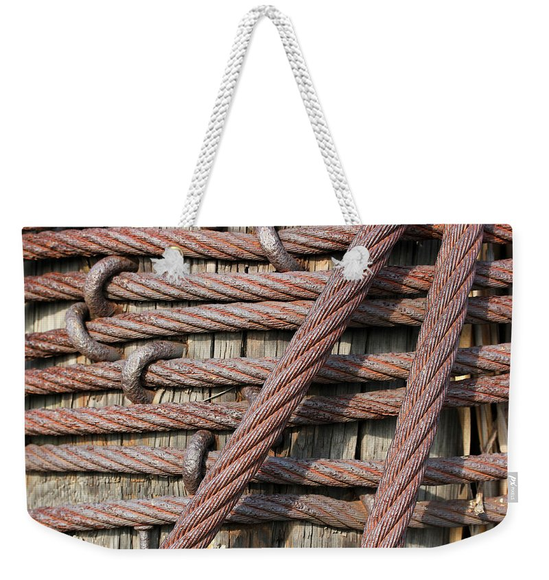 Iron Weekender Tote Bag featuring the photograph Iron Cables by Mary Bedy