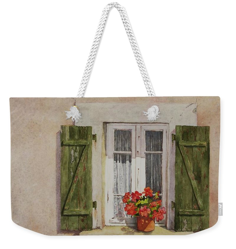 Watercolor Weekender Tote Bag featuring the painting Irvillac Window by Mary Ellen Mueller Legault