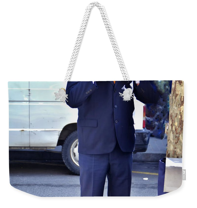 Street Vendor Weekender Tote Bag featuring the photograph Is My Tie Straight by Jon Berghoff