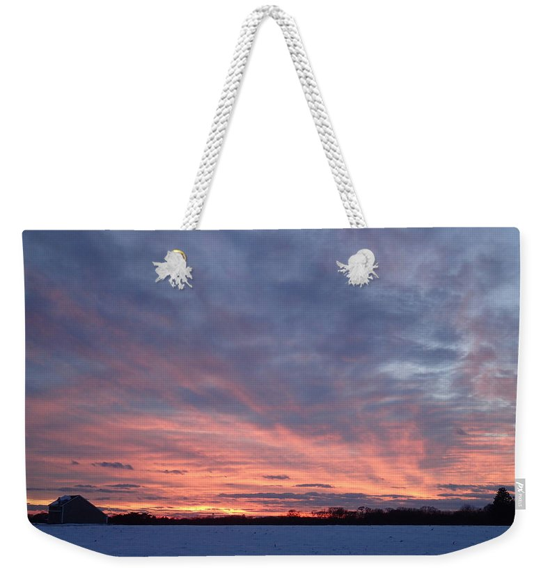 Sunset Weekender Tote Bag featuring the photograph Island Barn Sunset by Robert Nickologianis